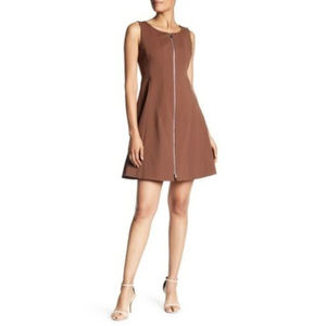 Lafayette 148 Brown Front-Zip Petite Dress Size 2